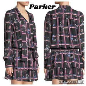 New Parker Printed Tie-Neck Drop-Waist Dress